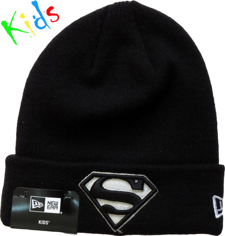 Superman New Era Kids Glow In The Dark Black Beanie ( Ages 5 - 10) - pumpheadgear, baseball caps
