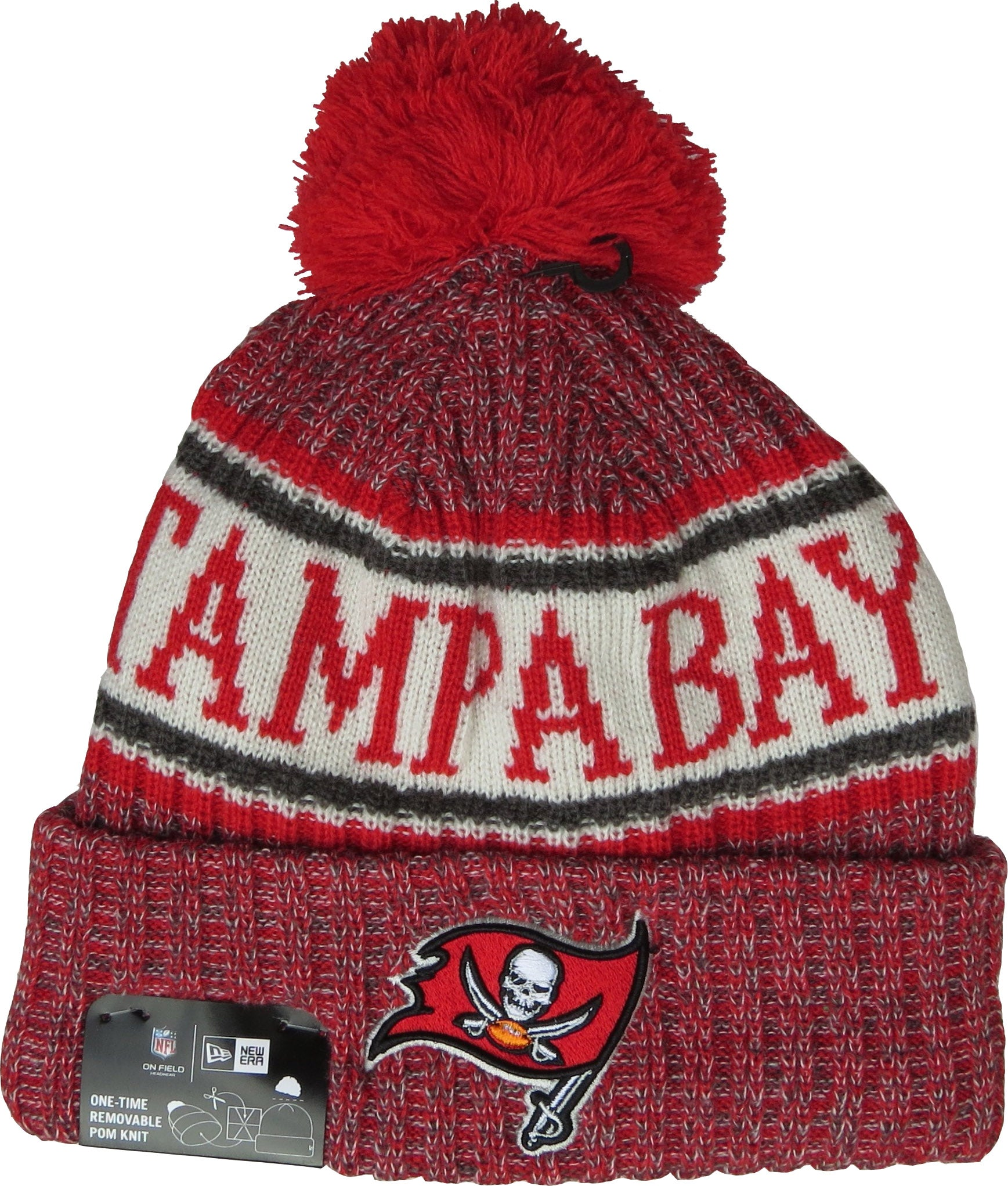 super cute 5b3f6 7b1a9 ... ireland tampa bay buccaneers new era nfl on field 2018 sport knit  bobble hat e7bdc 67c52