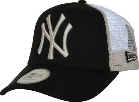 NY Yankees New Era Clean Trucker Cap - Black/White - pumpheadgear, baseball caps