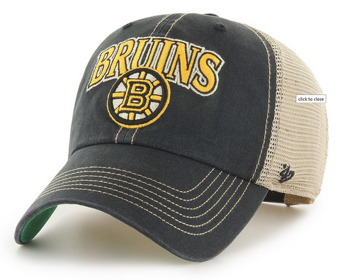 Boston Bruins 47 Brand Vintage Black Tuscaloosa Clean Up Cap
