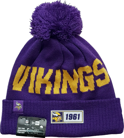 Minnesota Vikings New Era NFL On Field 2019 Sport Knit Road Bobble Hat