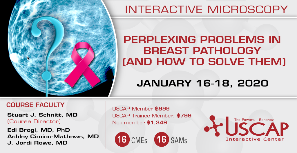 2020, January 16-18: Perplexing Problems in Breast Pathology (and How to Solve Them)