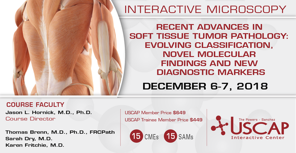2018, Dec. 6-7: Recent Advances in Soft Tissue Tumor Pathology: Evolving Classification, Novel Molecular Findings and New Diagnostic Markers