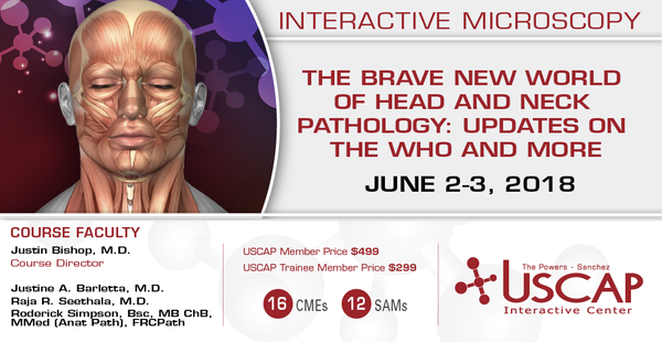 2018, June 2-3: The Brave New World of Head and Neck Pathology:  Updates on the WHO and More