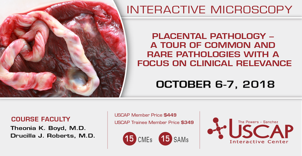 2018, Oct. 6-7: Placental Pathology - A Tour of Common and Rare Pathologies with a Focus on Clinical Relevance