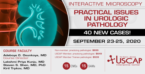 2020, September 23-25: Practical Issues in Urologic Pathology<br> 40 New Cases!