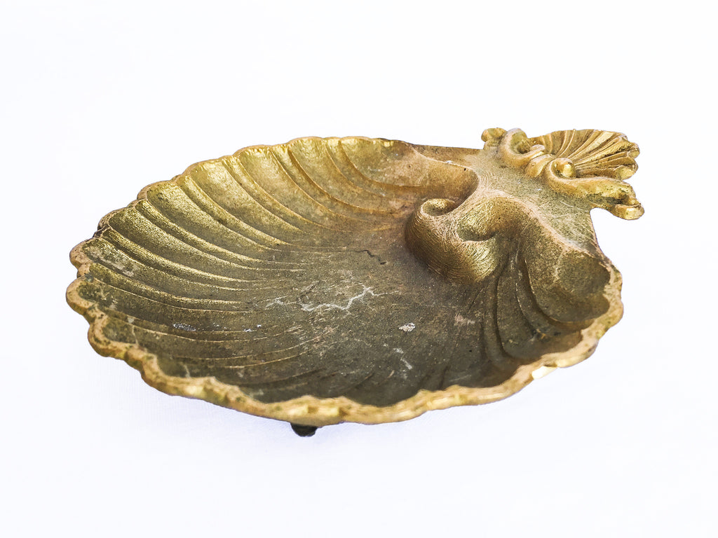 Vintage Brass Seashell Soap Dish