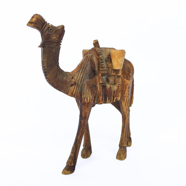 Vintage Hand Carved Wood Camel
