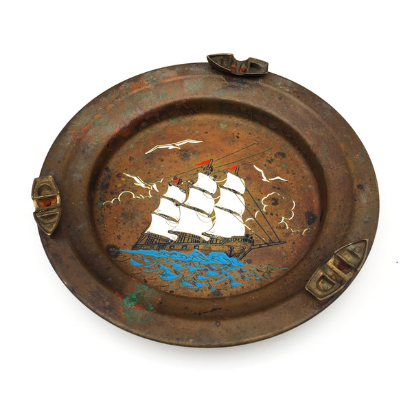 Vintage Nautical Brass Ashtray