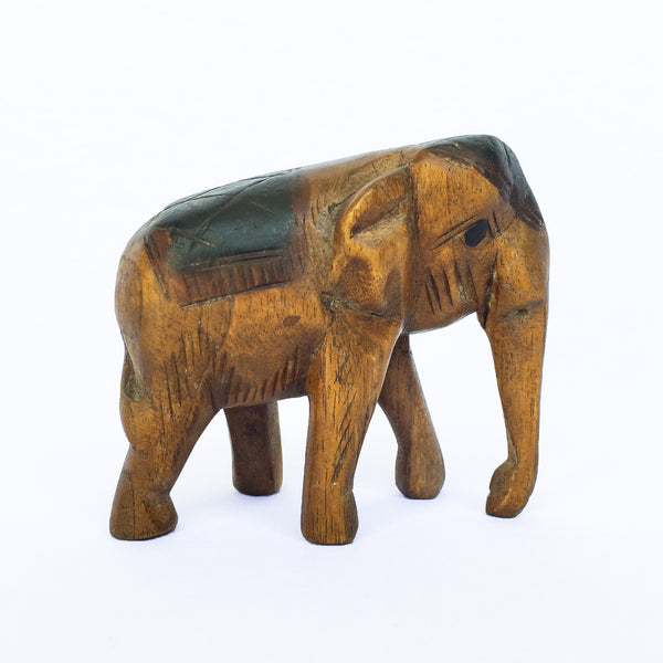 Vintage Hand Carved Wood Elephant