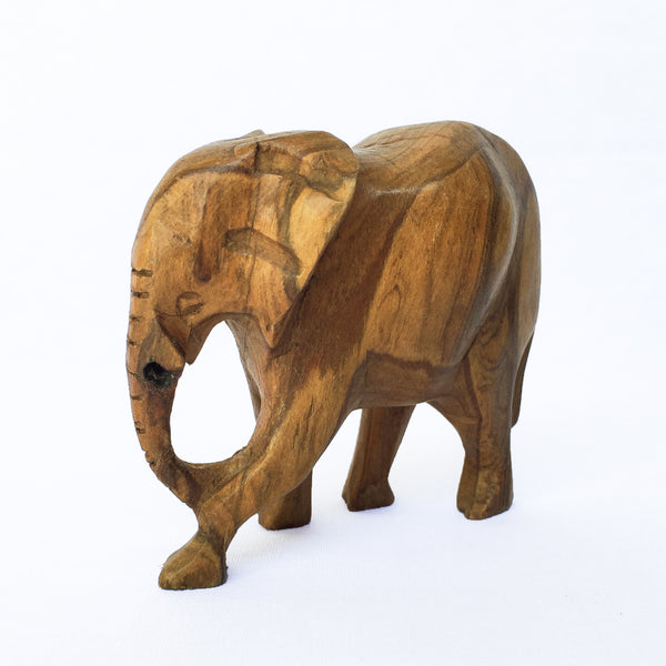 Small Vintage Hand Carved Wood Elephant