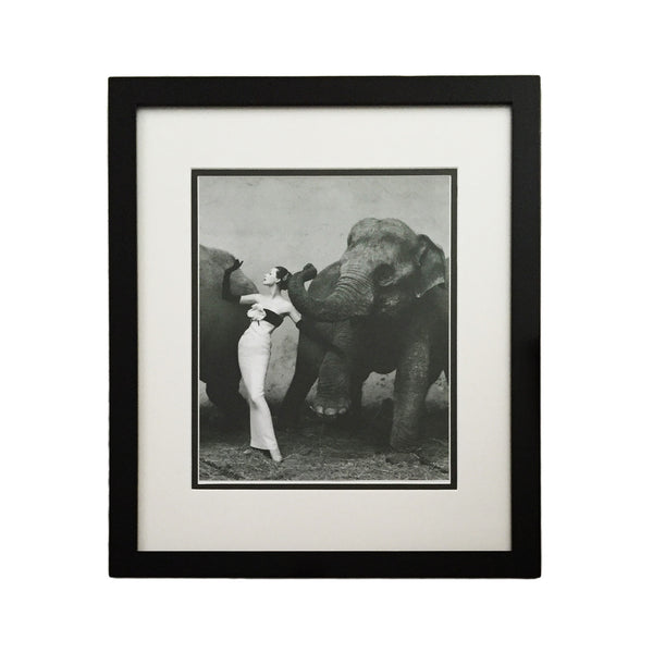 Framed Black & White Woman and Elephant Print