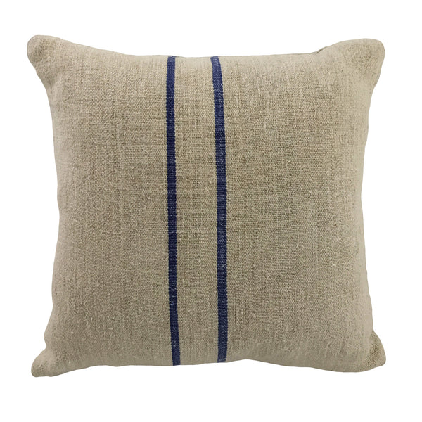 Spun Linen Blue Stripe Pillow, 18 x18
