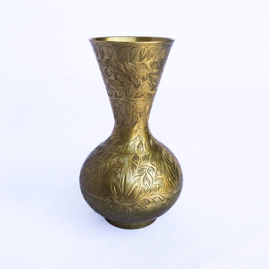 Small Vintage Etched Brass Vase