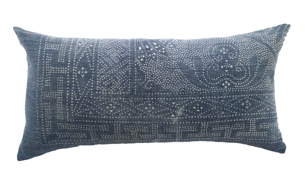 Batik Bolster Pillow, 32 x 16 - Chambray