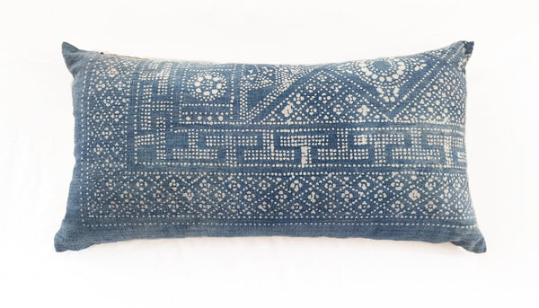Batik Bolster Pillow, 30 x 16 - Chambray