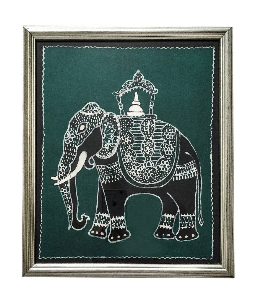 Framed Indian Elephant Textile