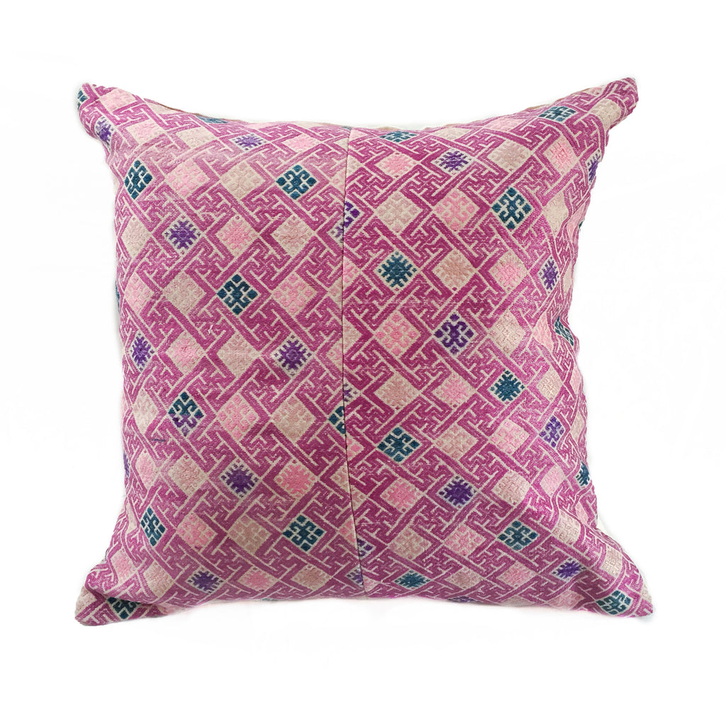 Wedding Quilt Pillow 23 x 23 - Pink & Silver