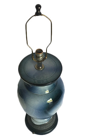 Vintage Blue Ceramic Lamp w/ Shade