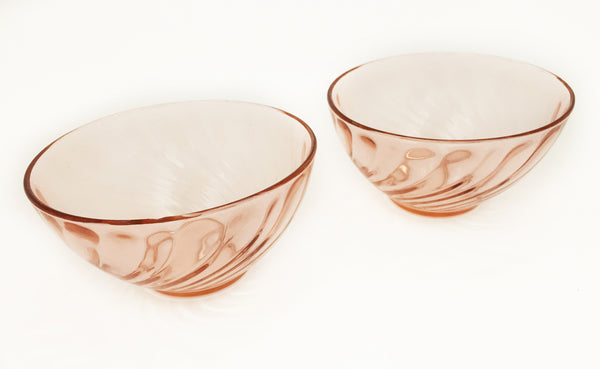 Pair of Vintage Pink Glass Bowls