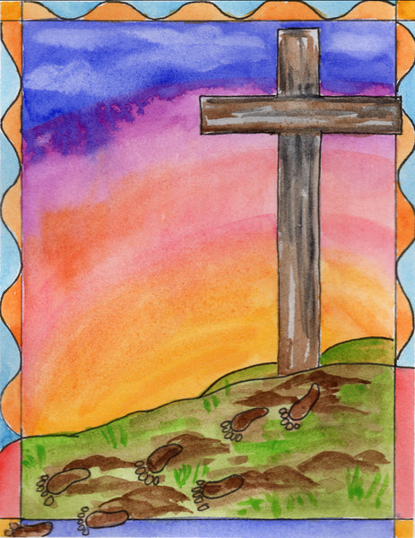 Baptismal Anniversary Cards  - Footprints From The Cross