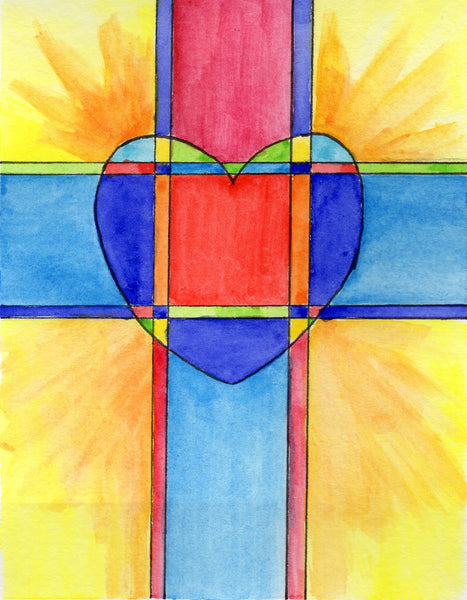 Baptismal Anniversary Card - Cross & Heart
