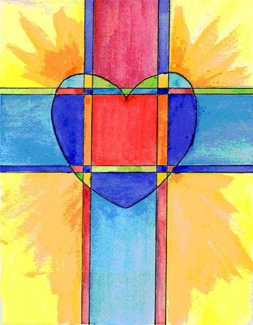 Confirmation Card - Colorful Cross & Heart
