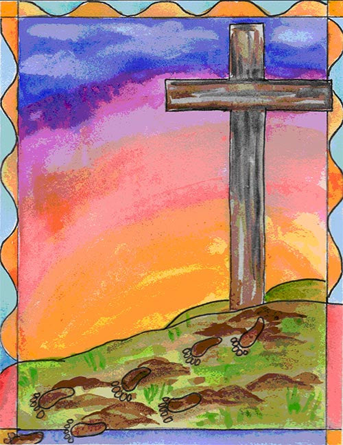 Confirmation Card - Cross with Footprints