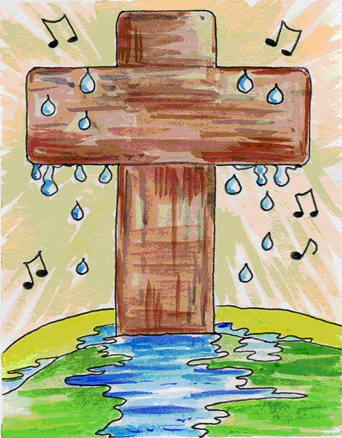 Confirmation Card - Cross with Water Drops & Music Notes