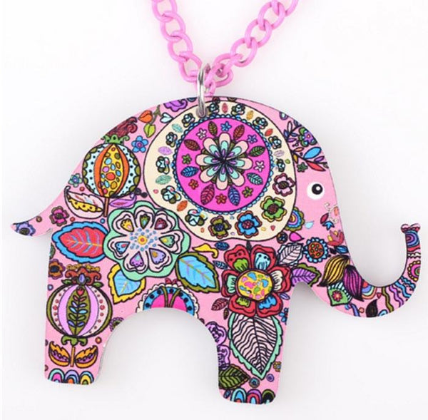 Hand Made Acrylic Elephant Necklace