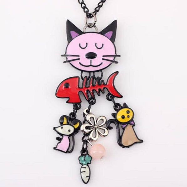 Hand Made French Cat Charm Necklaces