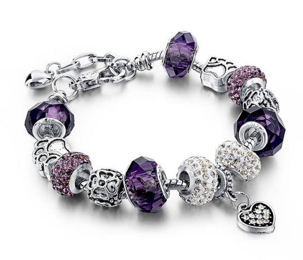 Purple Heart Shaped Charm Bracelet