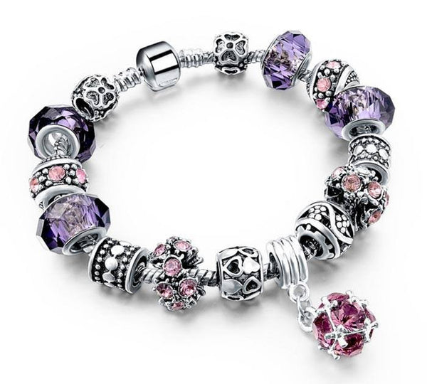 Silver and Purple Crystal Charm Bracelet
