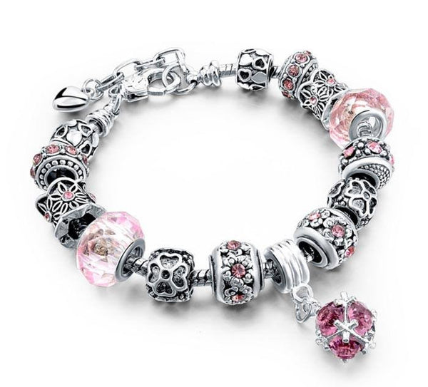 Silver and Pink Crystal Charm Bracelet