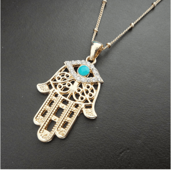 Gold plated Hand of Fatima turquoise stone necklace