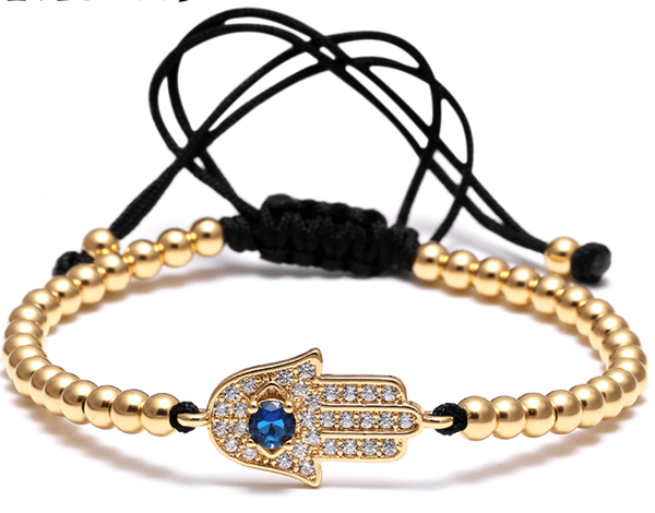 Gold Stainless Steel Hand Of Fatima Bead Bracelet