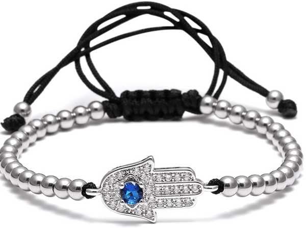 Silver Stainless Steel Hand Of Fatima Bead Bracelet