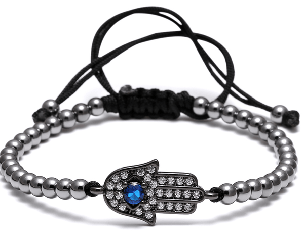 Black Stainless Steel Hand Of Fatima Bead Bracelet