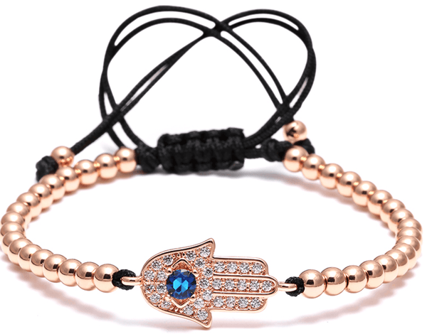 Rose Gold Stainless Steel Hand Of Fatima Bead Bracelet