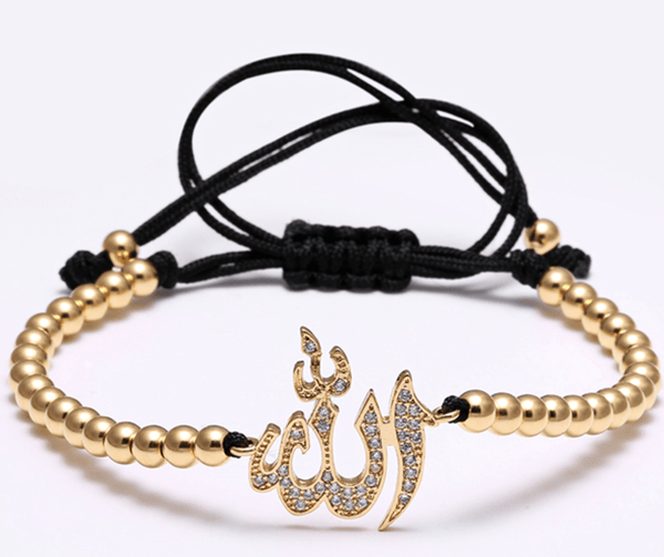 Gold Stainless Steel Allah Bead Bracelet