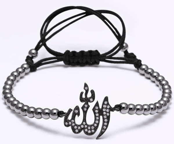 Black Stainless Steel Allah Bead Bracelet