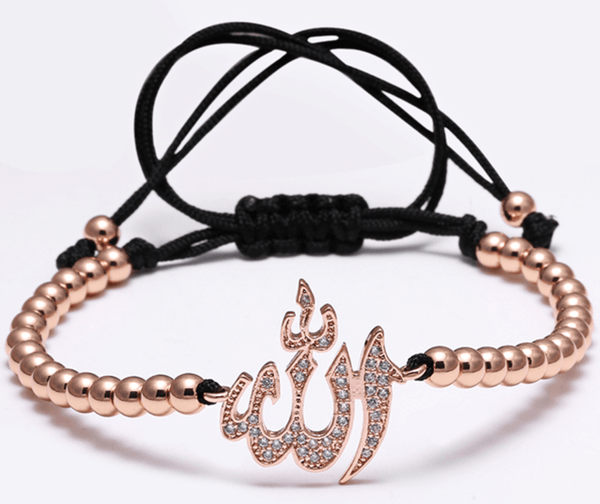 Rose Gold Stainless Steel Allah Bead Bracelet