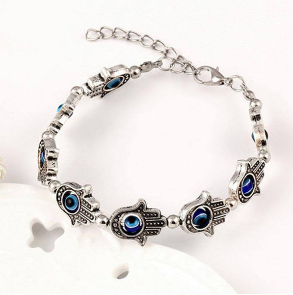 Antique Silver Hand Of Fatima Bracelet With Natural Stones