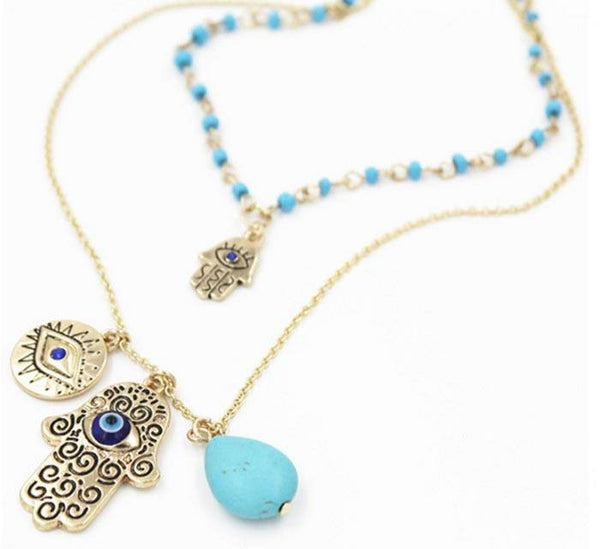 Multilayer Gold Hand Of Fatima Necklace with Turquoise Stone