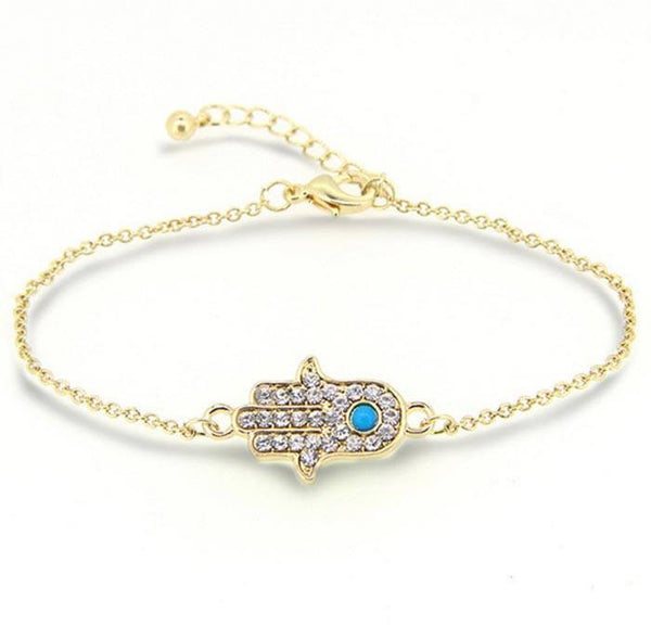 Gold Hand Of Fatima Bracelet with Turquoise Stone and Crystal Pendant