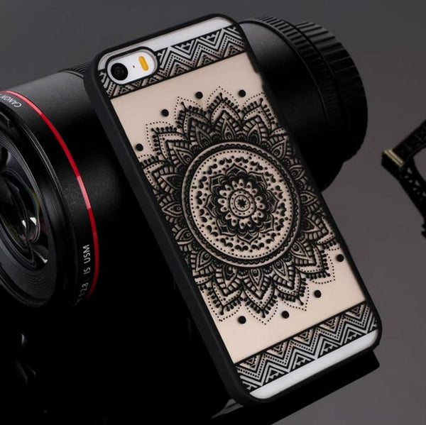 Black Henna Floral Phone Case