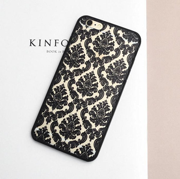 Black Henna Damask Phone Case