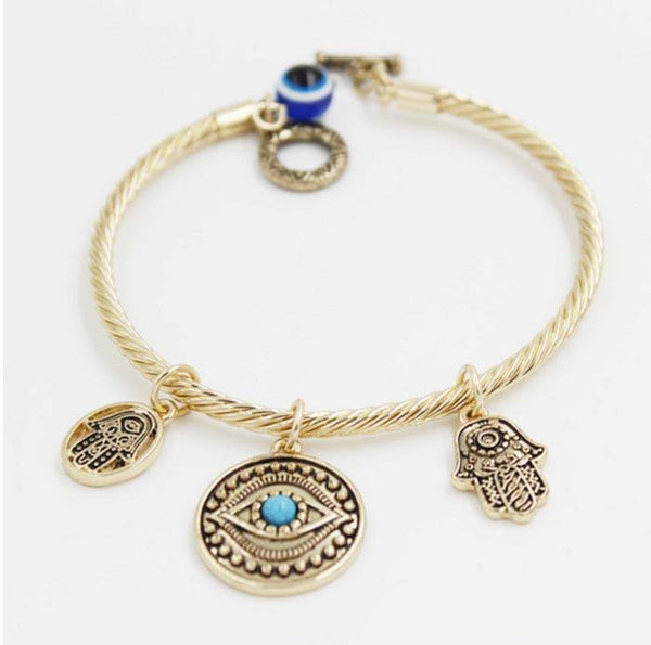 Gold Hand Of Fatima Bracelet with Evil Eye Pendant