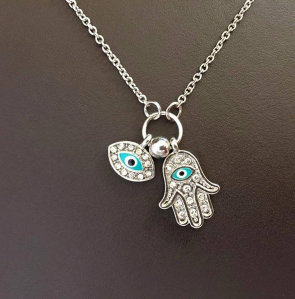 Hand Of Fatima Rhinestone Necklace with Evil Eye