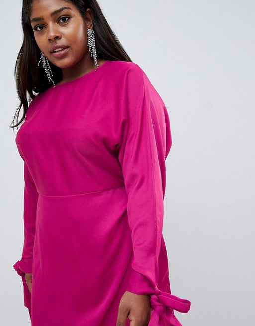 Satin Tie Sleeve Gown